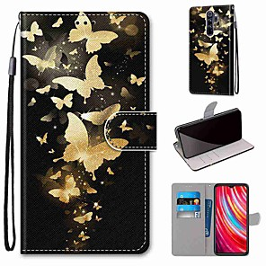 cheap Xiaomi Case-Case For Xiaomi Redmi Note 8 Pro / Redmi Note 8 / Redmi Note 8T Wallet / Card Holder / with Stand Golden Butterfly PU Leather / TPU for Redmi Note 7 / Mi CC9 Pro / Redmi 8 / Redmi K30 / Redmi 8A