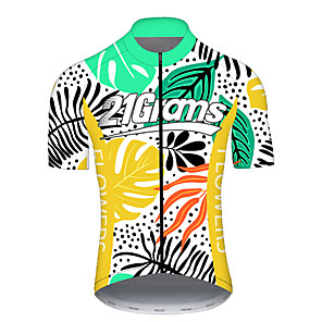 cheap Cycling Jerseys-21Grams Men's Short Sleeve Cycling Jersey Spandex Polyester Yellow Stripes Bike Jersey Top Mountain Bike MTB Road Bike Cycling UV Resistant Breathable Quick Dry Sports Clothing Apparel / Stretchy