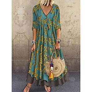 cheap Women's Sandals-Women's A-Line Dress Maxi long Dress - Half Sleeve Floral Layered Button Print Spring & Summer Deep V Casual Holiday Vacation Chiffon Loose 2020 Red Green Gray M L XL XXL XXXL
