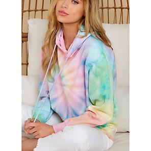 cheap Women's Boots-Women's Hoodie Tie Dye Basic Rainbow S M L XL XXL