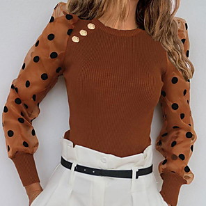 cheap Women's Boots-Women's Polka Dot Long Sleeve Pullover Sweater Jumper, Round Neck White / Brown / Gray S / M / L