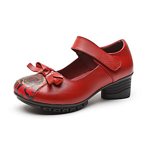 cheap Women's Heels-Women's Heels 2020 Summer Cuban Heel Round Toe Classic British Daily Outdoor Leather / Nappa Leather Walking Shoes Dark Red / Black