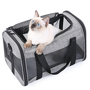 cheap Dog Collars, Harnesses & Leashes-Dog Cat Pets Travel Carrier Bag Airline Approved Pet Carrier Portable Washable Expandable Solid Colored Fashion Oxford Cloth Gray