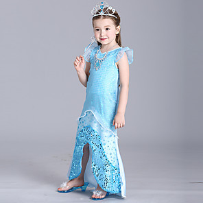 cheap Movie & TV Theme Costumes-The Little Mermaid Dress Flower Girl Dress Girls' Movie Cosplay A-Line Slip Blue Dress Children's Day Masquerade Satin / Tulle Sequin