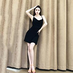 cheap Latin Dancewear-Latin Dance Dress Ruching Bandage Women's Performance Sleeveless Crystal Cotton