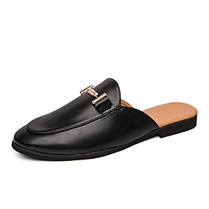 cheap Men's Slip-ons & Loafers-Men's Summer Classic / Casual Daily Home Clogs & Mules PU Breathable Wear Proof White / Black