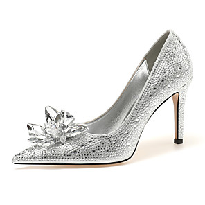 cheap Women's Sandals-Women's Heels 2020 Spring &  Fall / Spring & Summer Stiletto Heel Pointed Toe Classic Minimalism Wedding Party & Evening Crystal / Sparkling Glitter / Sequin Suede Silver