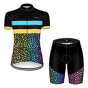 cheap Cycling Jersey & Shorts / Pants Sets-21Grams Women's Short Sleeve Cycling Jersey with Shorts Polyester Black / Blue Polka Dot Gradient Bike Clothing Suit Breathable Quick Dry Ultraviolet Resistant Reflective Strips Sweat-wicking Sports