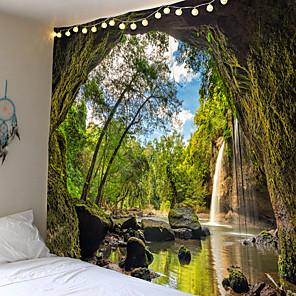 cheap Wall Tapestries-Zon Zee Tapestry Oceaan Strand Muur Opknoping Water Landschap Strand Decoratie Blauw Cloud Blauw Schuimige Deken Polyester Handgemaakte