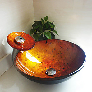 cheap Vessel Sinks-Round Golden Tempered Glass Vessel Sink with Waterfall Faucet Pop - Up Drain and Mounting Ring