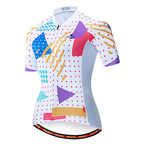 cheap Cycling Jersey & Shorts / Pants Sets-Miloto Women's Short Sleeve Cycling Jersey Blue / White Bike Jersey Top Mountain Bike MTB Road Bike Cycling Breathable Quick Dry Sports Clothing Apparel / Stretchy