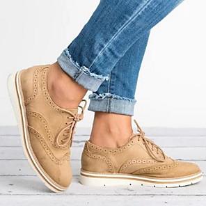 cheap Women's Heels-Women's Flats Spring / Summer Flat Heel Round Toe Daily Cowhide Black / Pink / Blue