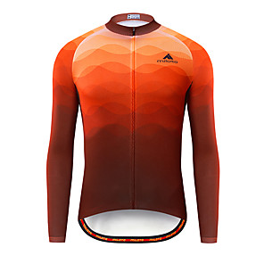 cheap Cycling Jerseys-Miloto Men's Long Sleeve Cycling Jersey Red Bike Jersey Top Mountain Bike MTB Road Bike Cycling Breathable Quick Dry Sports Clothing Apparel / Stretchy