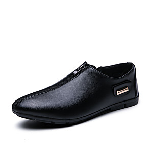 cheap Men's Slip-ons & Loafers-Men's Spring / Summer Classic / Casual Daily Office & Career Loafers & Slip-Ons Faux Leather Breathable Non-slipping Shock Absorbing Black
