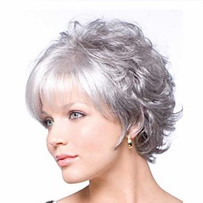 cheap Synthetic Trendy Wigs-Synthetic Wig Curly Matte Short Bob Wig Short Grey Synthetic Hair 6 inch Women's Easy dressing curling Fluffy Gray