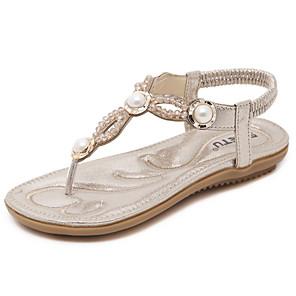 cheap Women's Sandals-Women's Sandals Summer Flat Heel Open Toe Daily PU Black / Gold / Blue