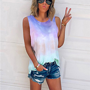 cheap Abstract Paintings-Women's Plus Size Tank Top Color Block Tie Dye Print Sleeveless Tops Basic Streetwear Blue Purple Blushing Pink / Going out