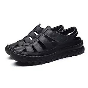 cheap Women's Sandals-Women's Sandals Flat Sandals Leather Sandals Spring & Summer Flat Heel Round Toe Daily PU Black / Brown / Beige