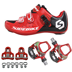cheap Cycling Jersey & Shorts / Pants Sets-SIDEBIKE Adults' Cycling Shoes With Pedals & Cleats Road Bike Shoes Carbon Fiber Cushioning Cycling Red Men's Cycling Shoes / Breathable Mesh