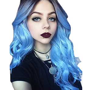 cheap Synthetic Lace Wigs-Synthetic Lace Front Wig Wavy Middle Part Lace Front Wig Ombre Long Black / Blue Synthetic Hair 18-26 inch Women's Cosplay Adjustable Party Blue Ombre