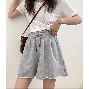 cheap Women's Heels-Women's Basic Plus Size Loose Chinos Shorts Pants - Solid Colored High Waist Cotton Black Red Green XS / S / M
