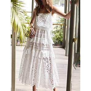 cheap Evening Dresses-Sheath / Column Cut Out White Holiday Party Wear Dress Spaghetti Strap Sleeveless Ankle Length Lace with Tier Lace Insert 2020