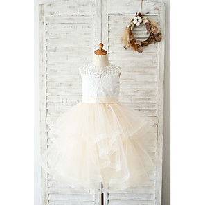 cheap Top Sellers-Ball Gown Knee Length Wedding / Birthday Flower Girl Dresses - Lace / Tulle Sleeveless Jewel Neck with Belt / Tiered