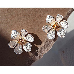 cheap Earrings-Women's Earrings Classic Flower Love Classic Vintage Earrings Jewelry White For Gift Daily 1 Pair