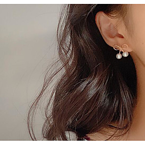cheap Earrings-Women's Earrings Classic Love Bowknot Classic Vintage Earrings Jewelry White For Gift Daily 1 Pair