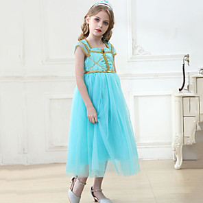 cheap Movie & TV Theme Costumes-Princess Princess Jasmine Dress Flower Girl Dress Girls' Movie Cosplay A-Line Slip Blue Dress Children's Day Masquerade Tulle Polyester