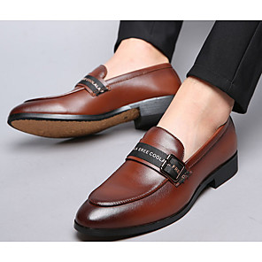 cheap Men's Slip-ons & Loafers-Men's Spring & Summer British Daily Loafers & Slip-Ons Leather Black / Brown