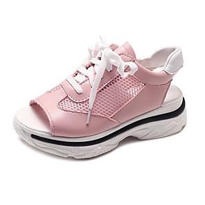 cheap Women's Sandals-Women's Sandals Summer Platform Peep Toe Daily Mesh White / Pink