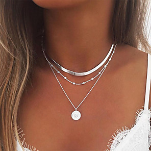 cheap Engraved Bracelets-Women's Necklace Layered Necklace Stacking Stackable Simple European Fashion Chrome Gold Silver 35 cm Necklace Jewelry 1pc For Party Evening Prom Street Beach