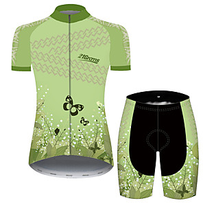 cheap Cycling Jersey & Shorts / Pants Sets-21Grams Women's Short Sleeve Cycling Jersey with Shorts Green Floral Botanical Bike Breathable Quick Dry Sports Patterned Mountain Bike MTB Road Bike Cycling Clothing Apparel / Micro-elastic