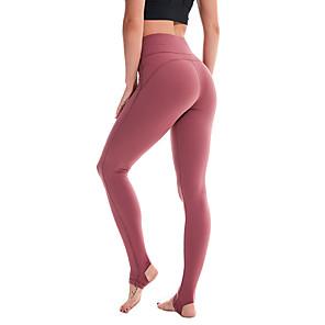 povoljno Odjeća za fitness, trčanje i jogu-Žene Visoki struk Hlače za jogu Stremen Tajice Butt Lift 4 puta se istegnite Prozračnost Crn purpurna boja Crvena Najlon Non-see-through Trening u teretani Trčanje Fitness Sportski Odjeća za