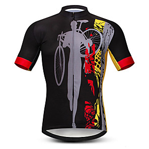 cheap Cycling Jersey & Shorts / Pants Sets-21Grams Men's Short Sleeve Cycling Jersey Black / Red Bike Jersey Top Mountain Bike MTB Road Bike Cycling UV Resistant Breathable Quick Dry Sports Clothing Apparel / Stretchy