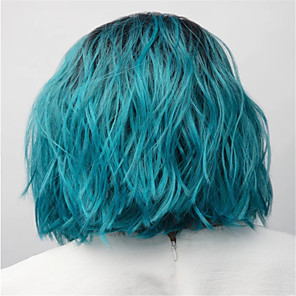 cheap Synthetic Trendy Wigs-Synthetic Wig kinky Straight Middle Part Wig Short Black / Blue Synthetic Hair 12 inch Women's Classic Women Easy dressing Blue