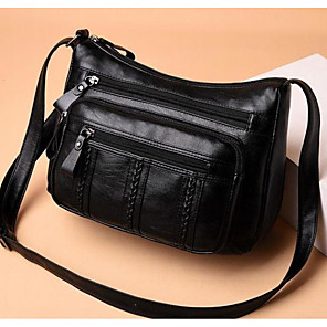 cheap Handbag & Totes-Women's Bags Polyester Crossbody Bag Zipper for Outdoor Black