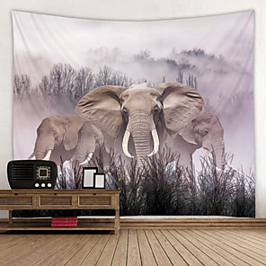 cheap Wallpaper-Painting Elephant Digital Printed Tapestry Decor Wall Art Tablecloths Bedspread Picnic Blanket Beach Throw Tapestries Colorful Bedroom Hall Dorm Living Room Hanging