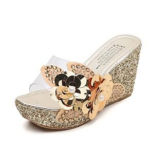 cheap Women's Sandals-Women's Sandals Wedge Sandals Summer Wedge Heel Open Toe Daily PU Black / Gold / Brown / Clear / Transparent / PVC