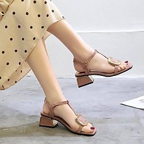 cheap Women's Heels-Women's Sandals Summer Chunky Heel Open Toe Daily PU Pink / Beige