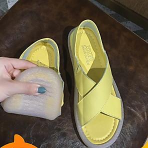 cheap Women's Sandals-Women's Sandals Flat Sandal Summer Flat Heel Open Toe Daily PU White / Black / Yellow