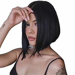 cheap Synthetic Trendy Wigs-Synthetic Wig Straight Matte Bob Wig Short Natural Black Synthetic Hair 6 inch Women's Sexy Lady Middle Part Bob Black