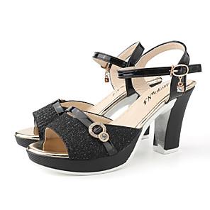cheap Women's Sandals-Women's Sandals Summer Block Heel Open Toe Daily Outdoor Buckle PU Black / Gold / Silver