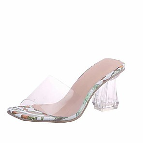 cheap Women's Sandals-Women's Sandals Fall / Spring & Summer Crystal Heel Open Toe Sweet Minimalism Daily Party & Evening Crystal Floral PU Walking Shoes Dark Red / Light Green / Light Purple / Clear / Transparent / PVC