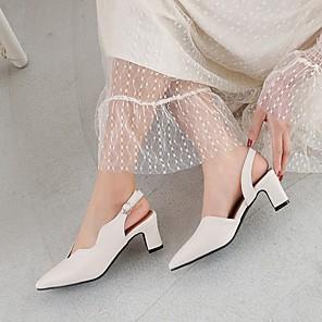 cheap Women's Sandals-Women's Heels Summer Chunky Heel Pointed Toe Daily PU Black / Khaki / Beige