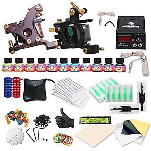 cheap Professional Tattoo Kits-DRAGONHAWK Tattoo Machine Starter Kit - 2 pcs Tattoo Machines with 10 x 5 ml tattoo inks LCD power supply Case Not Included 2 cast iron machine liner & shader