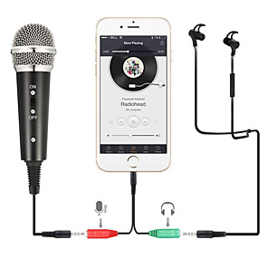 cheap Bookshelf Speakers-Recording Condenser Microphone Mobile Phone Microphone 3.5mm Jack Microfone for Computer PC Karaoke Mic for iphone Android