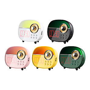 cheap Portable Speakers-Remax RB-M50 Portable Bluetooth Speakers Mini Stereo Speaker With Aux Input In Classic Tv Shape Equipped Alarm Clock Wake-up Function Time Display