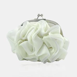 baratos Clutches & Bolsas de Noite-Mulheres / Para Meninas Flor Seda Bolsa de Festa Côr Sólida Branco